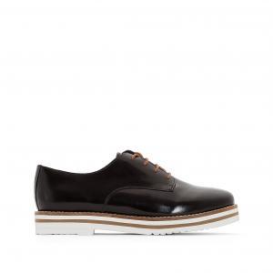 Ботинки-дерби из  состаренной кожи Avocado COOLWAY. Цвет: черный лак