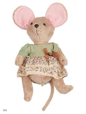 Мышка шарнирная Country mouse Оливка в платье Fluffy Family. Цвет: розовый, серый, голубой