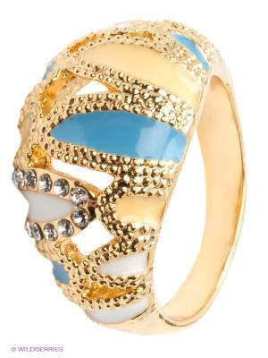 Кольцо Lovely Jewelry. Цвет: голубой, золотистый