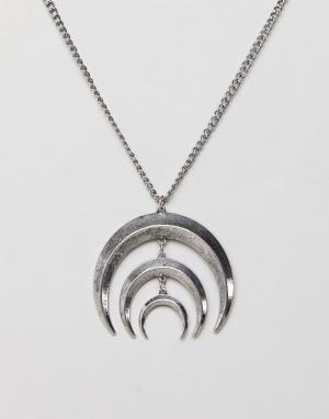 ASOS Ожерелье с месяцем DESIGN. Цвет: серебряный