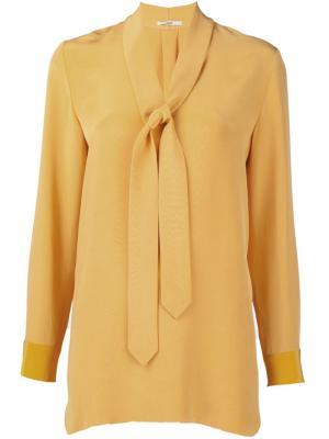 Блузка с завязками на горловине Edun. Цвет: жёлтый и оранжевый