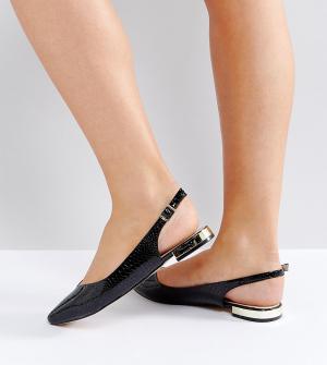 Faith Wide Fit Туфли на плоской подошве для широкой стопы. Цвет: черный