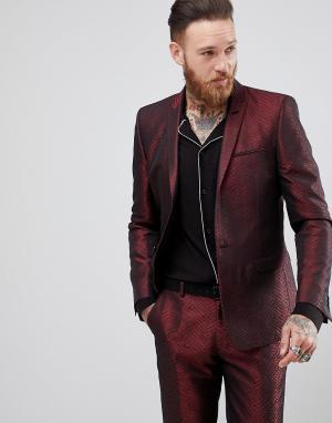 ASOS Жаккардовый зауженный пиджак. Цвет: красный