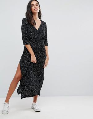 Goldie Платье макси в горошек с застежкой на пуговицы и поясом Breezy. Цвет: черный