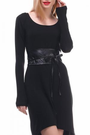 Платье с поясом Majaly. Цвет: черный