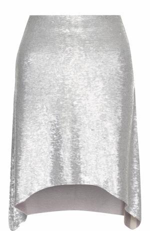 Мини-юбка асимметричного кроя с пайетками Iro. Цвет: серебряный