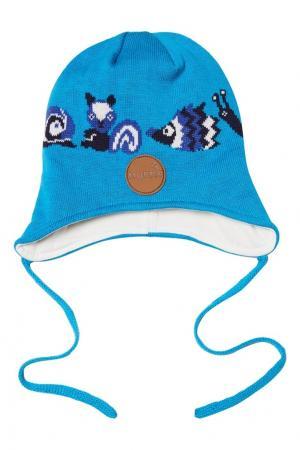 Голубая шапка с завязками Huppa. Цвет: голубой
