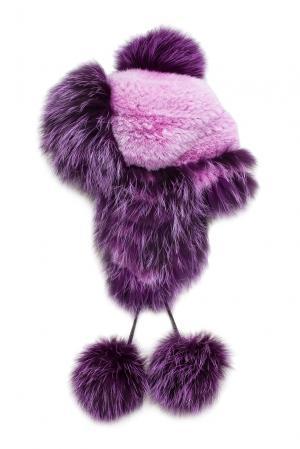 Головной убор из меха лисы и норки 139002 Igor Gulyaev. Цвет: фиолетовый