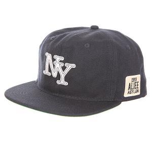 Бейсболка с прямым козырьком  Nueva York Snapback Peacoat Alife. Цвет: синий