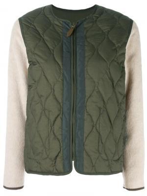 Двусторонняя дутая куртка бомбер Bellerose. Цвет: зелёный