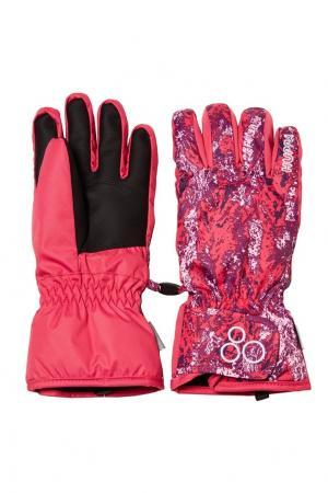 Разноцветные зимние перчатки Huppa. Цвет: розовый