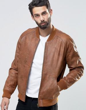 ASOS Светло-коричневая куртка‑пилот из нубука. Цвет: рыжий