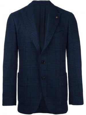 Пиджак на две пуговицы Gabriele Pasini. Цвет: синий