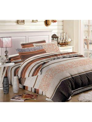 Комплект постельного белья ЕВРО Ля Мур. Цвет: серый, коричневый, оранжевый