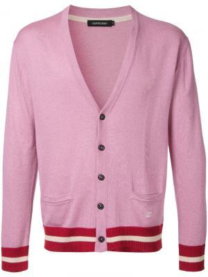 Кардиган с полосатой окантовкой Loveless. Цвет: розовый и фиолетовый