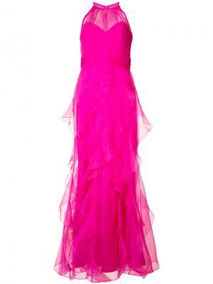 Многослойное платье-макси Badgley Mischka. Цвет: розовый и фиолетовый