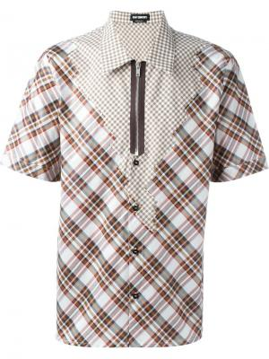 Рубашка в клетку Raf Simons. Цвет: коричневый