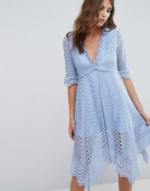 Foxiedox Платье асимметричного кроя с люверсами Periwinkle. Цвет: синий