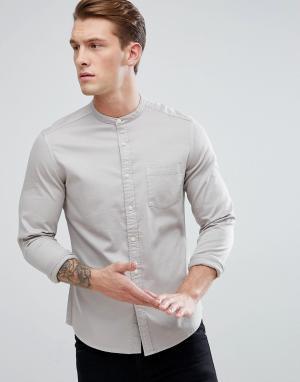 ASOS Приталенная эластичная джинсовая рубашка с воротником на пуговице. Цвет: серый