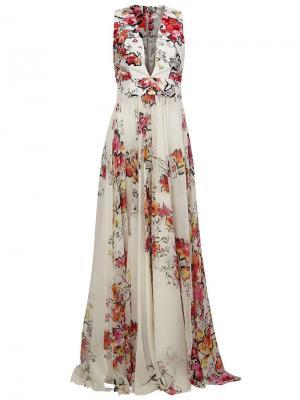 Вечернее платье с цветочным принтом Zuhair Murad. Цвет: белый