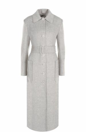Удлиненное однобортное пальто с поясом Helmut Lang. Цвет: светло-серый