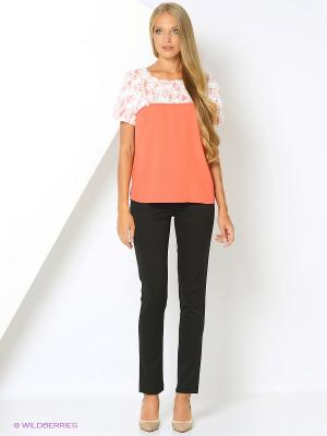 Блузка Valeria Lux 72450. Цвет: коралловый, белый