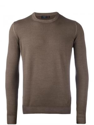 Трикотажный свитер с круглым вырезом Corneliani. Цвет: телесный