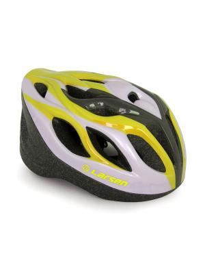 Шлем роликовый раздвижной H3BW Larsen. Цвет: желтый, белый, черный
