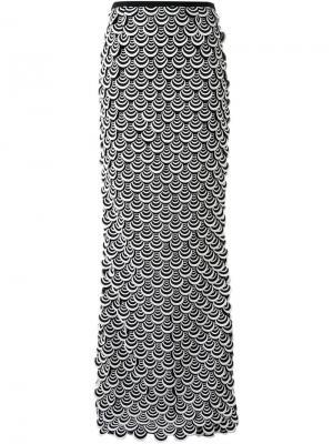 Длинная юбка с вышивкой Ingie Paris. Цвет: чёрный