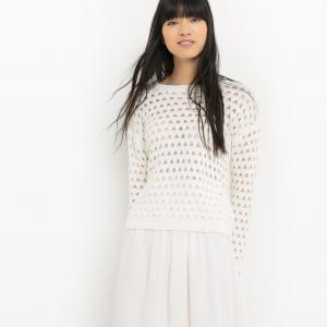 Пуловер хлопковый с круглым вырезом SUNCOO. Цвет: экрю