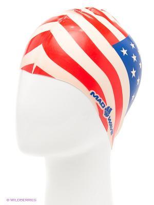Силиконовая шапочка USA Mad Wave. Цвет: синий, бежевый, красный