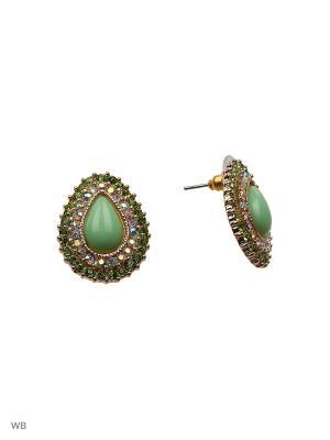 Серьги Vittorio Richi. Цвет: зеленый, золотистый