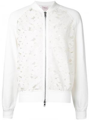 Кружевная куртка-бомбер на молнии Marna Ro. Цвет: белый