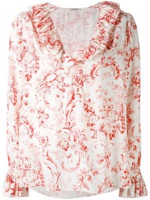 Рубашка с цветочным узором Vilshenko. Цвет: телесный