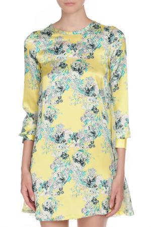 Полуприлегающее платье с цветочным принтом Coast+Weber+Ahaus. Цвет: желтый