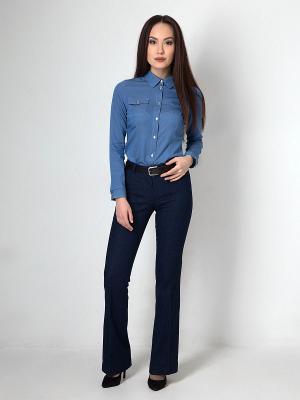 Рубашка джинсовая приталенная с длинным рукавом Welldress. Цвет: голубой