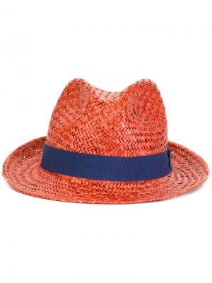 Шляпа с контрастным дизайном Hackett. Цвет: жёлтый и оранжевый