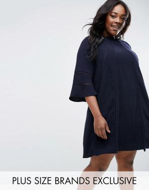 Truly You Цельнокройное платье с расклешенными рукавами. Цвет: темно-синий