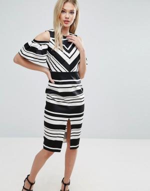 ASOS Черно-белое платье-футляр в полоску с вырезами на плечах. Цвет: мульти