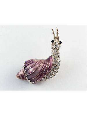 Брошь Miss Bijou. Цвет: лиловый, прозрачный, розовый, золотистый, черный, бордовый, сиреневый