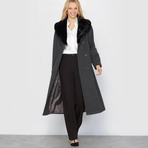 Пальто, 70% шерсти и 10% кашемира ANNE WEYBURN. Цвет: желто-каштановый/ шоколадный,каштан/каштан,малиновый,серый меланж/черный воротник,черный/ черный