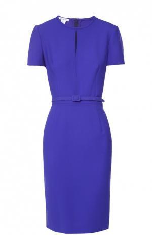 Приталенное платье с коротким рукавом и поясом Oscar de la Renta. Цвет: темно-синий
