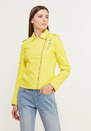 Куртка кожаная Modis. Цвет: желтый