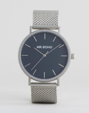 Mr Boho Серебристые часы с сетчатым браслетом и темно-синим циферблатом Boh. Цвет: серебряный