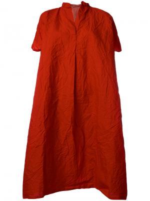 Платье-футболка с воротником в китайском стиле Daniela Gregis. Цвет: красный