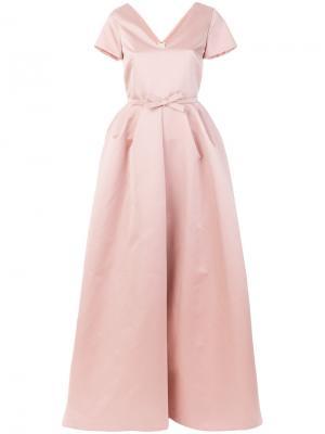 Длинное платье с бантом Rochas. Цвет: телесный