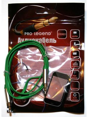 Кабель соединительный Pro Legend, 3.5 Jack (M)  - плоский кабель, зеленый, 2м. Legend. Цвет: зеленый