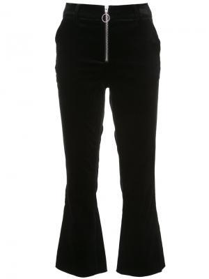 Расклешенные брюки с засежкой-молнией Frame Denim. Цвет: чёрный