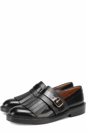 Кожаные ботинки с бахромой Marni. Цвет: черный