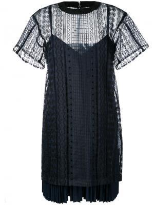 Многослойное платье с вышивкой Sacai. Цвет: чёрный